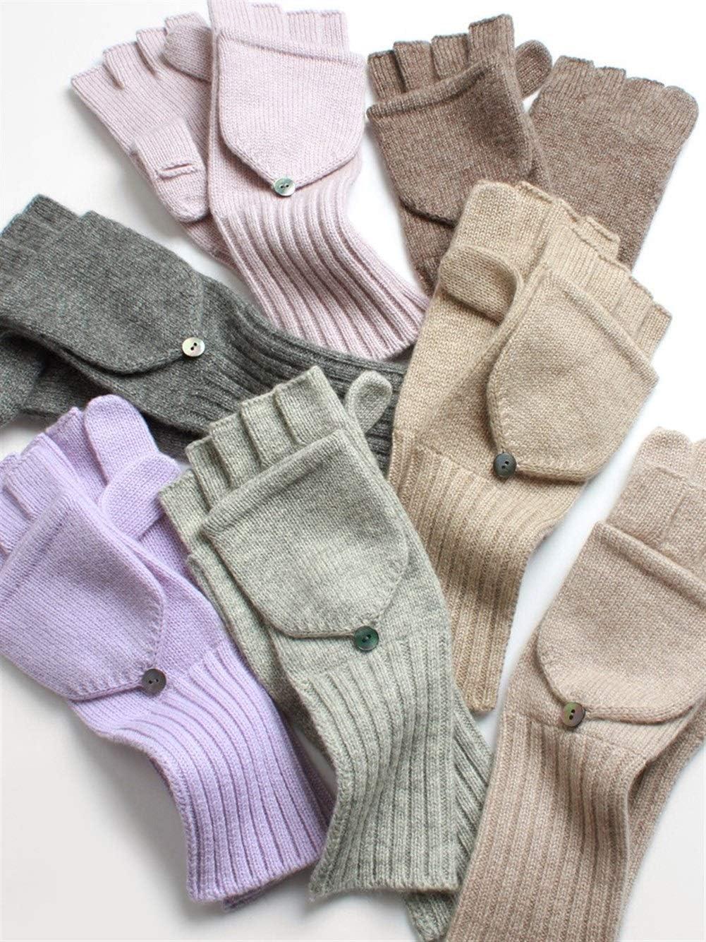 Winter Gloves Warm Gloves Warm Flip Ladies Soft Long Cashmere Gloves (Color : Navy, Size : One Size)