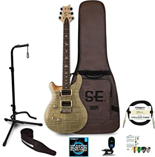 PRS SE Custom 24 Left Handed Electric Guitar with Gig Bag: Includes ChromaCast Stand, Strap, Strings, Tuner, Picks & Cable, Trampas Green