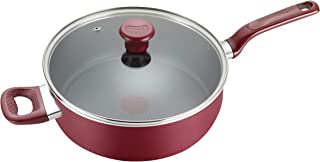 T-fal B0398264 B03982 Excite ProGlide Nonstick Thermo-Spot Heat Indicator Dishwasher Oven Safe Jumbo Cooker with Lid Cookware, 5-Quart, Rio Red