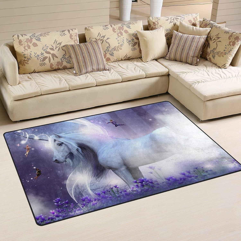 Area Rugs Carpet Doormats 60x39 inches A Majestic Unicorn 3 Little Fairies Sendi Living Room Bedroom Decorative Non-Slip Floor Mat
