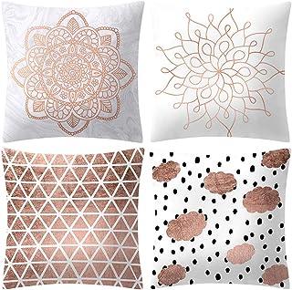 KariNao - Juego de 4 fundas de cojín de 45 x 45 cm, color rosa, dorado y rosa, algodón, a, 45 x 45 cm
