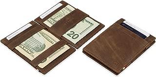 Thin Minimalist Genuine Leather Magic Wallet RFID Blocking with ID Window for Men
