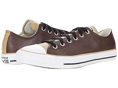 Converse Chuck Taylor All Star Three-Color Leather Ox (Dark Root/Nomad Khaki/White) Athletic Shoes