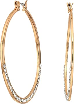 GUESS - Stone Bottom Hoop Earrings