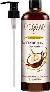 Oraganix Fractionated Coconut Oil - 100% Pure & Natural (16oz Bottle) - Carrier Oil for Essential Oils, Aromatherapy, Massage Oil or Skin Care