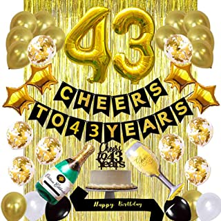 Gold 43rd Birthday Decorations Kit, Cheers to 43 Years Banner Balloons 43rd Cake Topper Birthday Sash Gold Tinsel Foil Fringe Curtains for 43 Birthday&Anniversary Decorations