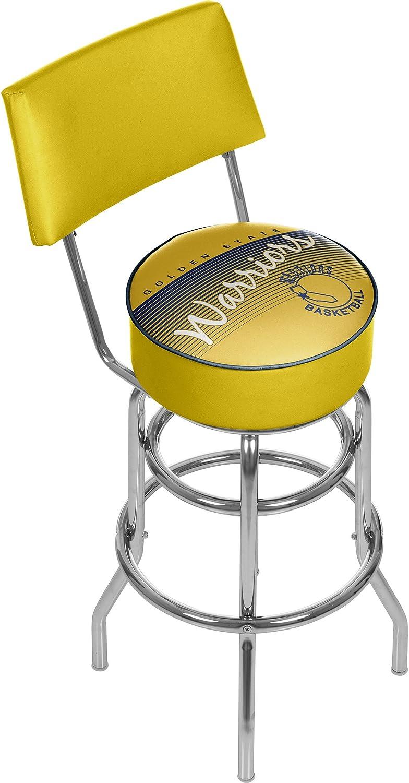 NBA golden State Warriors Hardwood Classics Bar Stool with Back, One Size, Chrome