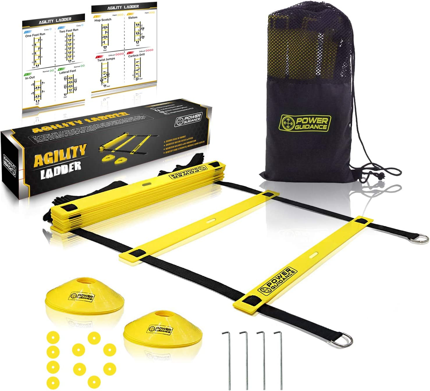 POWER GUIDANCE Agility Ladder (20 Feet) for Speed Agility Training & Quick Footwork Exercise - with 12 Plastic Rungs, 4 Pegs, Carry Bag & 10 Sports Cones