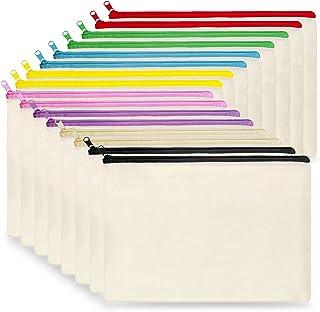 Canvas Cosmetic Bag Bulk, 16pcs KOOLMOX 9x7'' Canvas Zipper Pouch, Plain Canvas Pencil Bag, Pen Bags, Black Cosmetic Bags ...