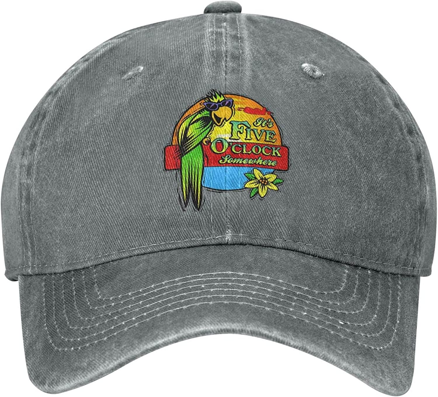 Jimmy Buffet It's Five O'Clock Somewhere Sun Hat Dad Hat Baseball Cap Cotton Adjustable Fitted for Women Men Gray