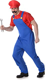 Super Plumber Costume - Halloween Mens Video Game Cosplay, Red Blue