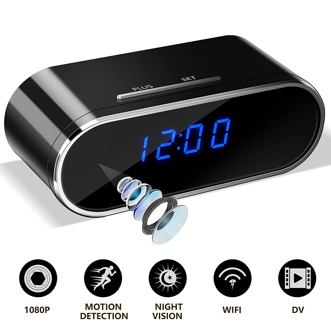 Hidden Spy Secret Nanny Wireless Camera Clock w/Sands 32GB Card Installed | Covert IR Night Vision | Motion Detection & Remote Activated via Any Smart Device