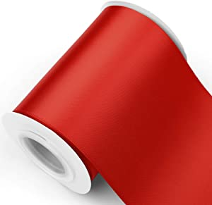 Humphrey's Craft 4 Inch Scarlet Red Double Faced Satin Ribbon - 10 Yards Variety of Color for Crafts Grand Opening Cutting Ceremony Decoration Sewing Chair Sash Wedding and Dining Tables.