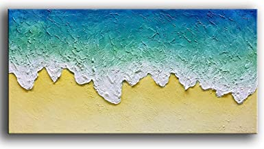 Tyed Art- 100% Hand-Painted Abstract Paintings, Oil Paintings On Canvas Wave Beach Scenery Abstract Artwork Art Wood Insid...