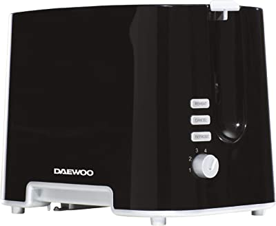 Daewoo SDA1687GE ' Plastic Chrome Electronic Browning Control and Cancel, Defrost & Reheat Functions, Auto Pop-Up and Easy Clean Slide Out Crumb Tray, 730-870W Power, Black 2 Slice Toaster