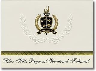 Signature Ankündigungen blau Hills Regional berufliche Technische (Kanton, MA) Graduation Ankündigungen, Presidential Elite Pack 25 mit Gold & Schwarz Metallic Folie Dichtung B078TT7562  Nicht so teuer