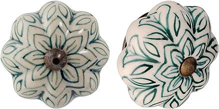 Nicola Spring Ceramic Cupboard ladeknoppen - Vintage Design Flower - Dark Green - Pack van 6
