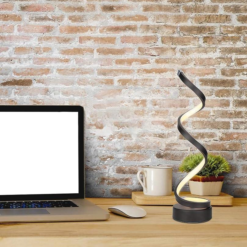 ペーストアンドリューハリディレーニン主義Grems 調光対応スパイラルベッドサイドテーブルランプ、12W温白色無段階調光カーブLED読書灯寝室用リビングルームオフィス(ブラック)