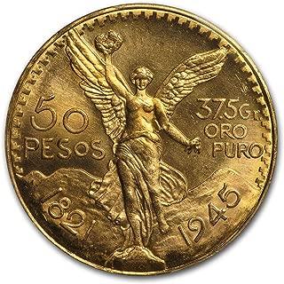 1945 México, 1.2057 Troy onzas de .900 oro, muy raro-profesional Moneda Grading Service Mint State 67, PCGS Populación: 1