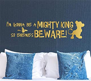 Lion King Wall Decal - Cartoon Simba Wall Art Sticker - I'm Gonna Be a Mighty King So Enemies Beware - Playroom Nursery Mu...