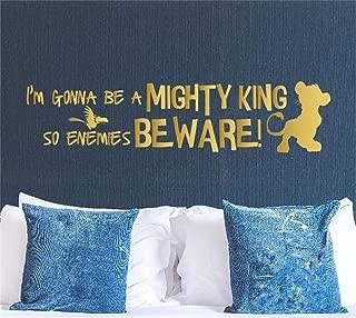 Lion King Wall Decal - Cartoon Simba Wall Art Sticker - I'm Gonna Be a Mighty King So Enemies Beware - Playroom Nursery Mural Decor