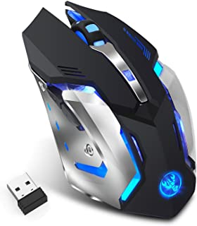 Rechargeable 2.4Ghz Wireless Gaming Mouse with USB Receiver,7 Colors Backlit for MacBook, Computer PC, Laptop (600Mah Lith...
