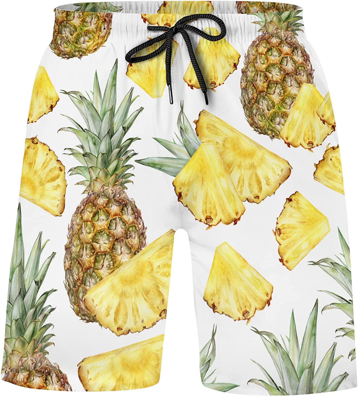 Watercolor Pineapple On White Bathing Suits Athletic Shorts Swim Trunks for Kids Boy