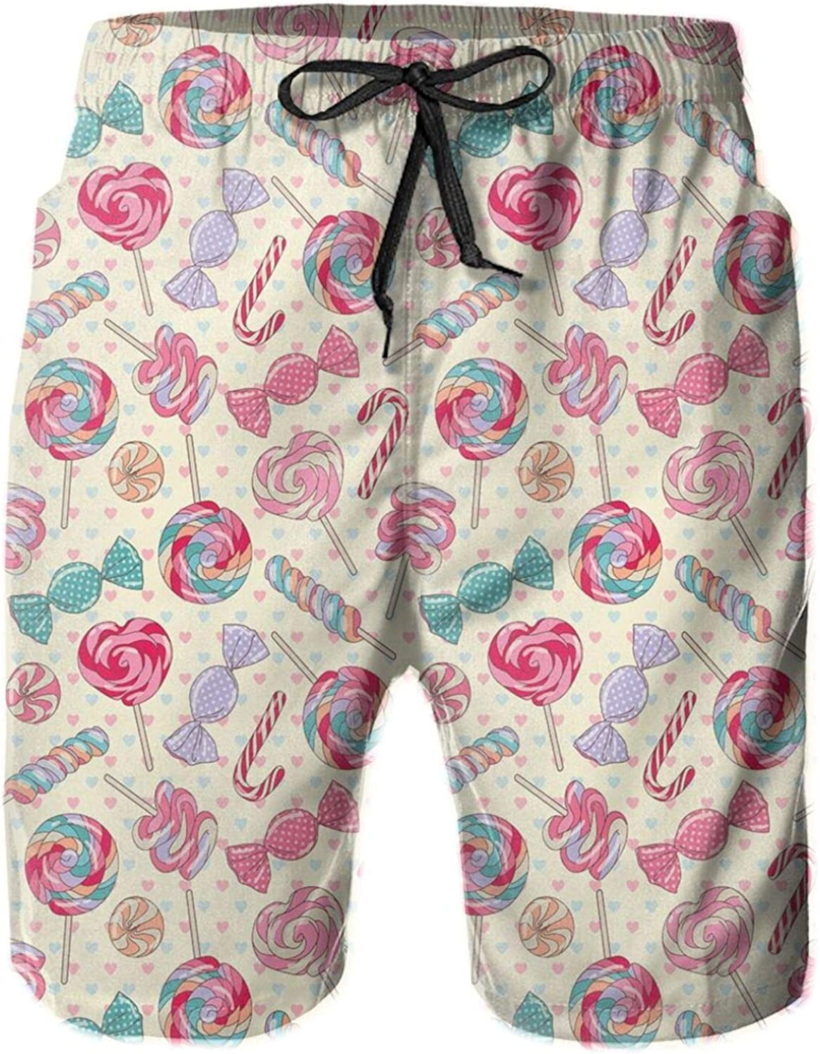 Yummy Sweet Lollipop and Candy Cane Pattern with Faded Little Hearts On Yellow Drawstring Waist Beach Shorts for Men Swim Trucks Board Shorts with Mesh Lining,XL