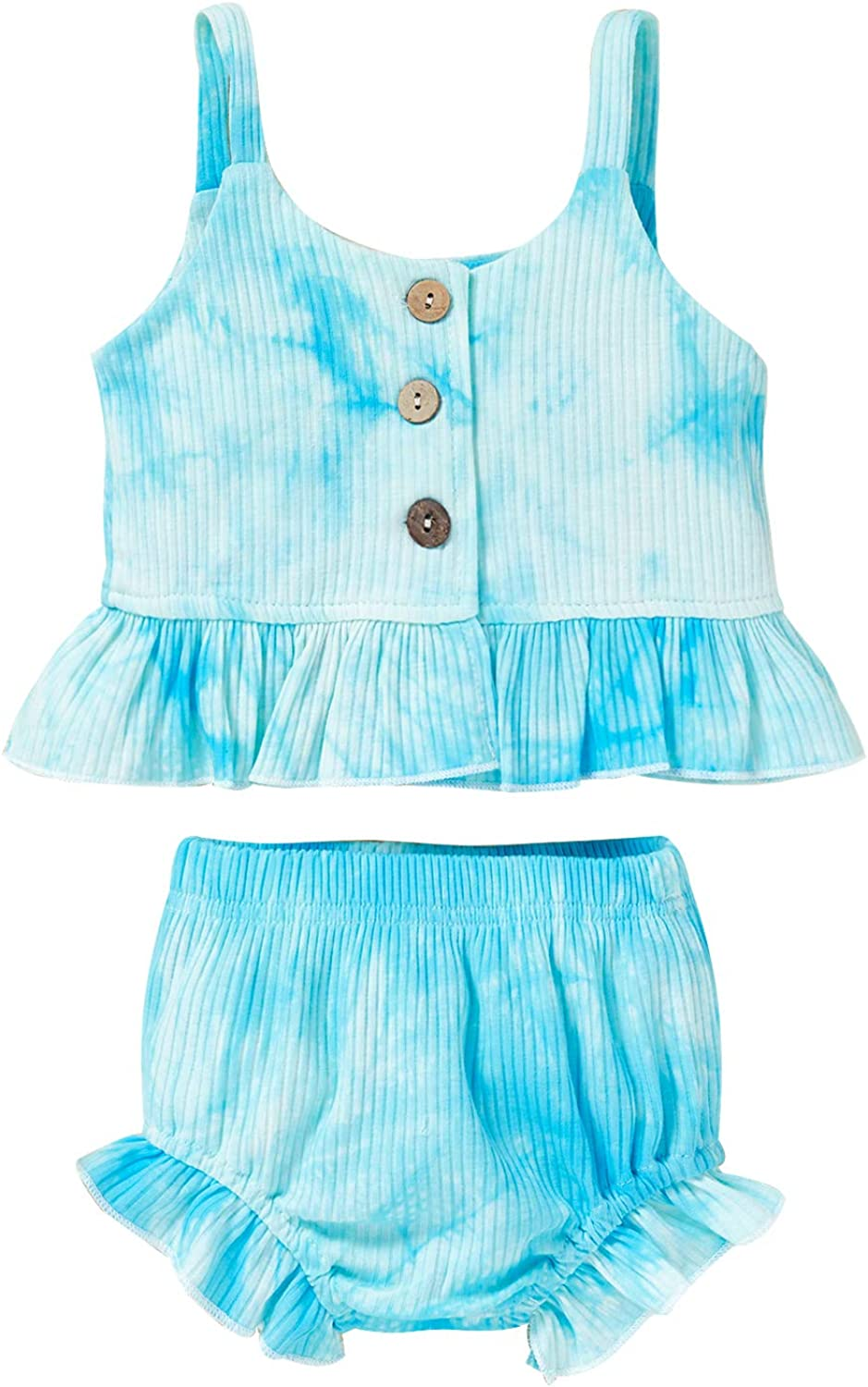 Viworld Baby Girl Summer Tie Dye Outfits Toddler Girl Sling Knitted Shirt Ruffle Shorts 2Pcs Clothes