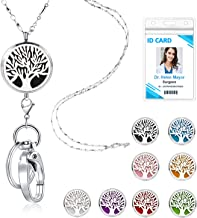 TONY & SANDY Lanyard Necklace Diffuser Aromatherapy Stainless Steel Beaded Chain Necklace Silver for ID Badge Holder and Keys Non Breakaway Essential Oil Pendant Locket for Women Nurse Tree of Life