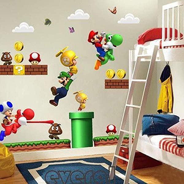 Limado Super Mario Bros Mural Wall Decals Sticker PVC Removable Wall Stickers Kids Room Decoration