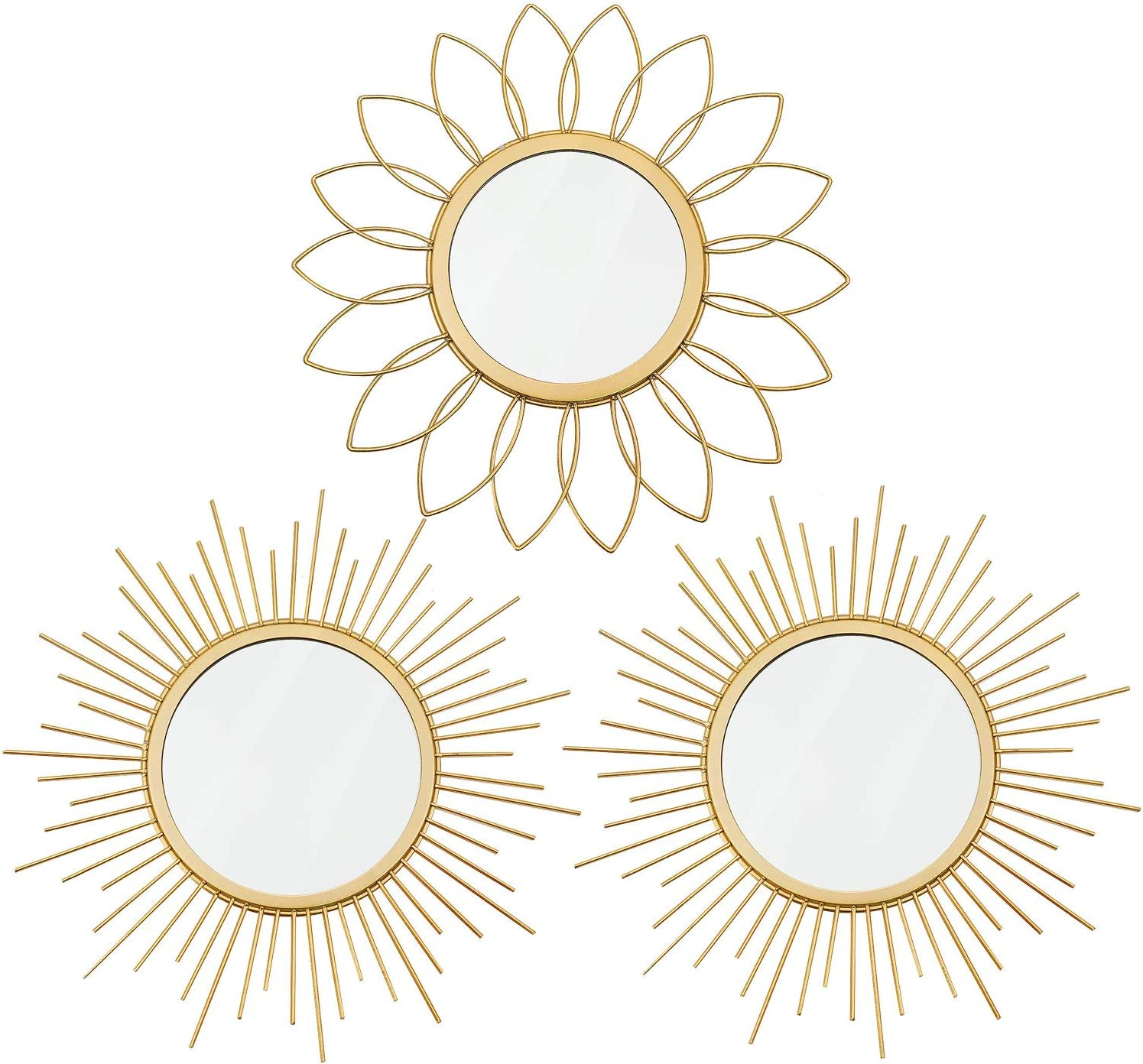 3 Tulsa Mall Pack Gold Mirrors for Home Dé Ranking TOP17 Wall Metal Sunburst