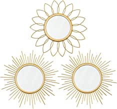 3 Pack Gold Mirrors for Wall Metal Sunburst Wall Mirrors Home Décor Decorative Hanging Wall Art for Living Room Bedroom En...