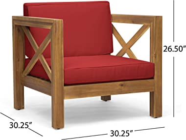 Great Deal Furniture Indira Outdoor Acacia Wood Club Chair with Cushion, Teak Finish and Red