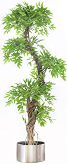 Tall Modern Artificial Tree Plant with Artificial Leaves and Real Bark, Approx 163cm Tall