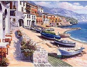 Regalo de Pintura al óleo para Adultos niños óleo pintura por Seaside Pier wn Lscape- (40x50cm) -Marco de madera