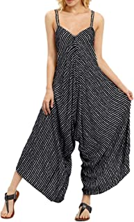 Women Strappy V Neck Bandage Loose Playsuit Striped Sling Party Clubwear Long Jumpsuit