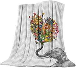 YEHO Art Gallery 39x49 Inch Flannel Fleece Bed Blanket Soft Throw-Blankets for Girls Boys,Newspaper Elephant Aztec Floral Pattern,Cozy Lightweight Blankets for Bedroom Living Room Sofa Couch