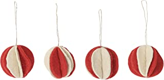 De Kulture™ Hand Made Felt Hanging Ball Flower Bauble (Red and Off-White) Set of 4 For Home Decoration Party Decorative Office Decor Ideal For Christmas Decoration
