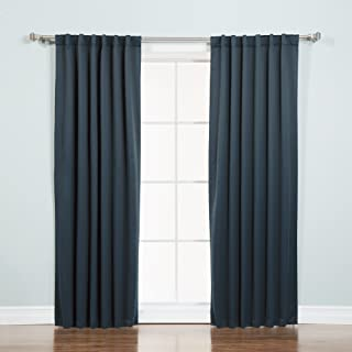 Best Home Fashion Basic Thermal Insulated Blackout Curtains - Back Tab/Rod Pocket - Navy - 52