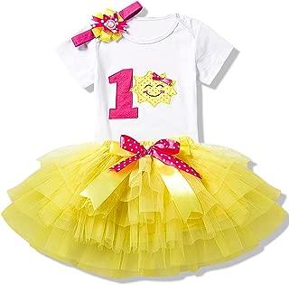 Girl Newborn 1st Birthday 3 Pcs Outfits Romper+Tutu Dress+Headband