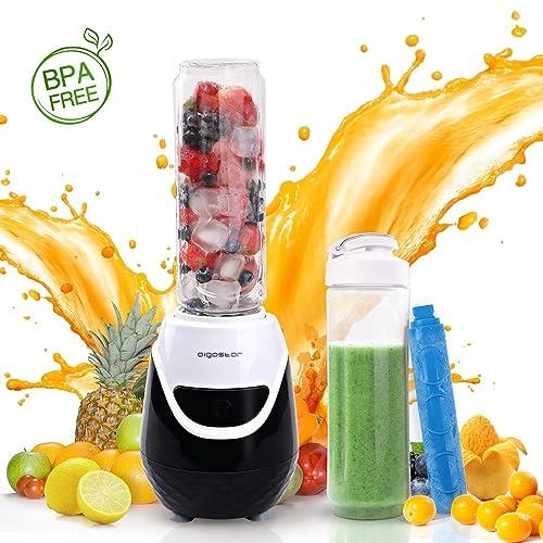 Aigostar Blackberry 30JDH - 600W Mini blender mixeur portable avec un tube réfrigérant. 0% BPA. Inclus 2 verres en Tritan de 600 ml et 2 couvercles. Idéal pour smoothies, milk-shakes et jus de fruits.