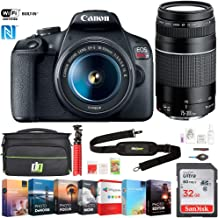 Canon 2727C021 EOS Rebel T7 DSLR Camera with EF18-55mm and EF 75-300mm Double Zoom Lens Bundle with 32GB Memory Card, Photo and Video Editing Suite, Deco Gear Camera Bag and Accessories (9 Items)