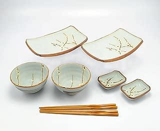 Happy Sales 8 Piece Japanese Cherry Blossom Dinnerware Set, Light Blue