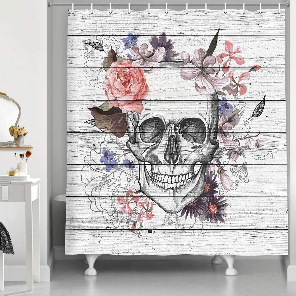 Nippon Charlotte Mall regular agency NYMB Skull Shower Curtain Skeletons Flowers on Woo with Vintage