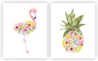 Watercolor Flamingo and Pineapple Wall Art, Tropical Kids Bedroom Decor Set of 2 8x10 UNFRAMED