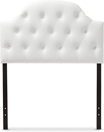 featured product Baxton Studio Maugier Modern and Contemporary White Faux Leather Upholstered Button Tufted Scalloped Headboard,  Twin