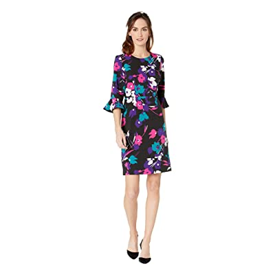 22ac7478e4b6 Nine West Printed Coral Crepe 3/4 Ruffle Sleeve Sheath Dress (Black/Flamenco