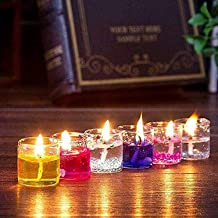 Agarwal Trading Corporation Colorful Handicrafts Smokeless Glass Wax Teal Light Candles for All Kind of Festival Diwali/Na...