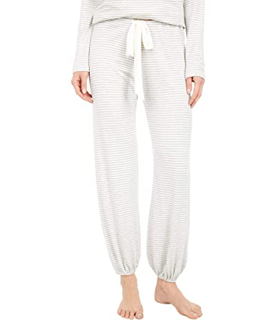 Eberjey Sadie Stripes Cropped Pants (Heather Grey/White) Women